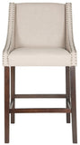 Safavieh Dylan Bar Stool Taupe Espresso Lacquer Coating Rubberwood Foam Iron Linen FOX6222B 889048014381