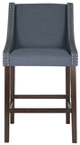 Safavieh Dylan Bar Stool Navy Espresso Lacquer Coating Rubberwood Foam Iron Linen FOX6222C 889048014398