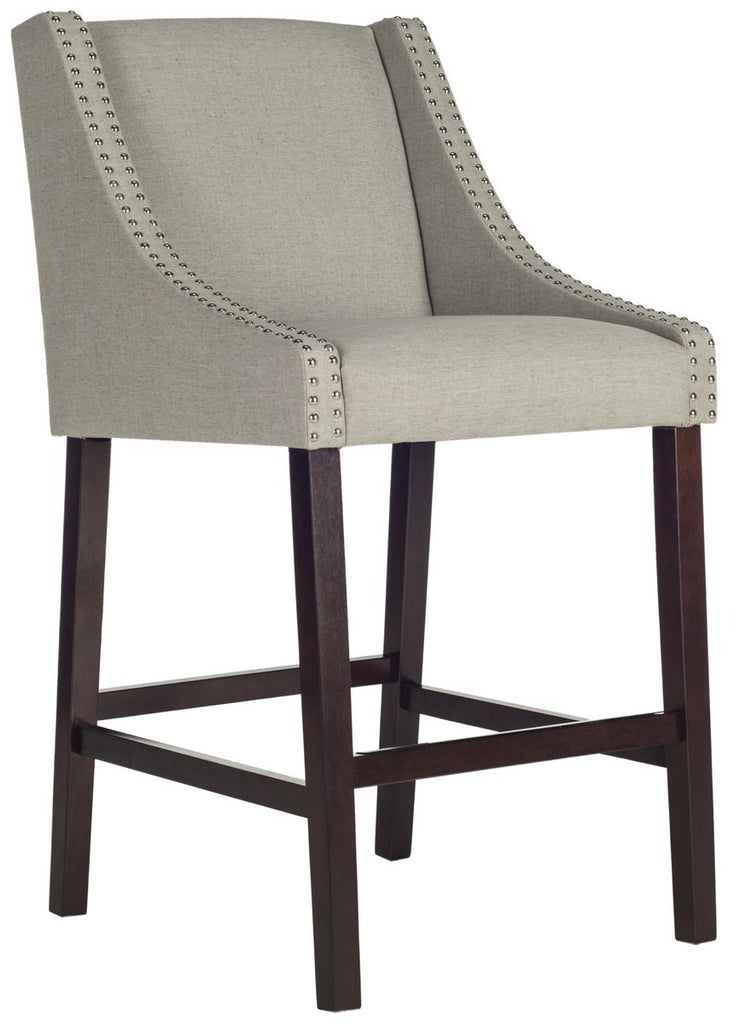 Safavieh Dylan Bar Stool Light Grey Espresso Lacquer Coating Rubberwood Foam Iron Linen FOX6222D 889048014404