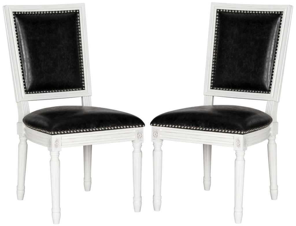 Safavieh - Set of 2 - Buchanan Side Chair 19''H French Brasserie Leather Rect Nail Heads Black Cream Rubberwood Foam Iron PU FOX6229E-SET2 889048034624