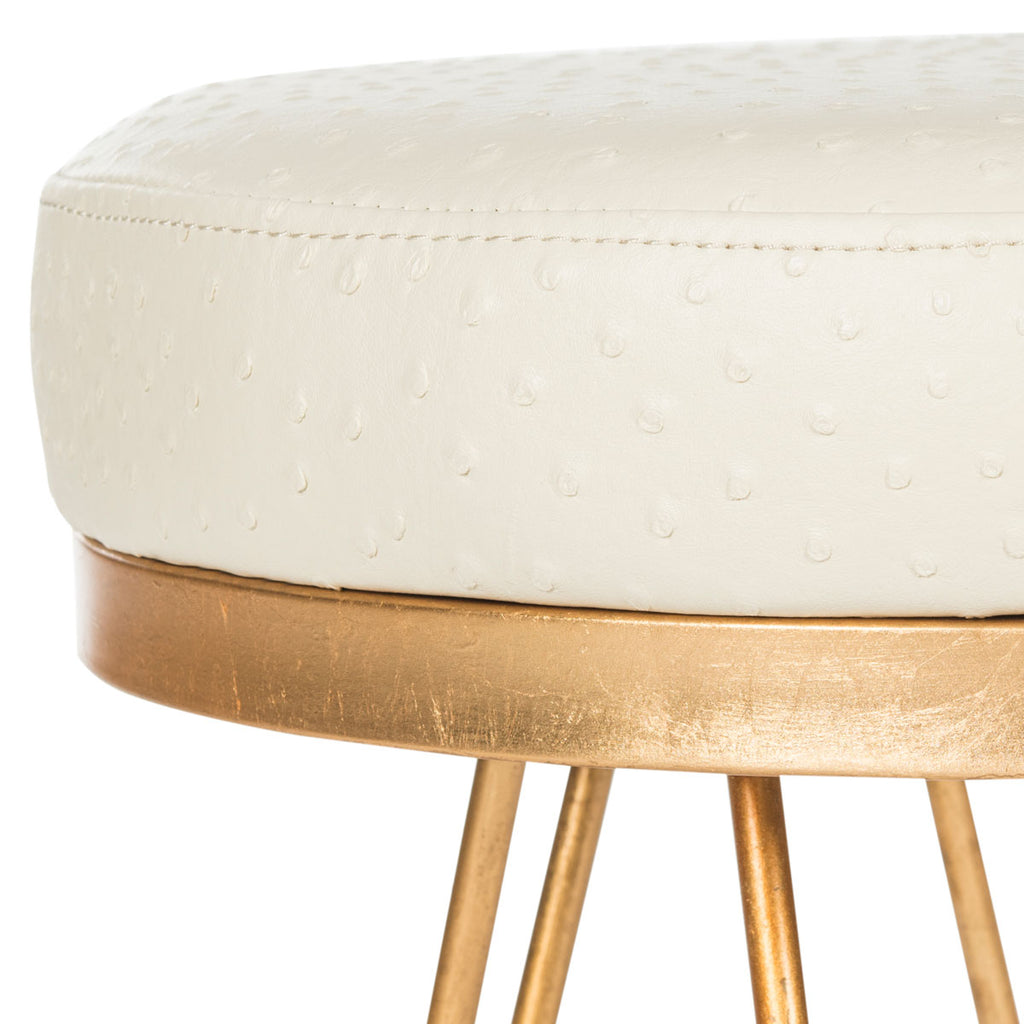 Safavieh Jenine Bench Faux Ostrich Round Cream Plywood Foam Nickel PU FOX6249A 889048119901