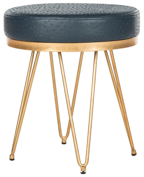 Safavieh Jenine Bench Faux Ostrich Round Navy Plywood Foam Nickel PU FOX6249B 889048120389