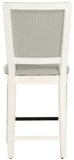Safavieh - Set of 2 - Buchanan Counter Stool Rectangle Light Grey Cream Distressed White Plywood Rubberwood Foam Nickel Linen FOX6271A-SET2 889048299153