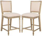 Safavieh - Set of 2 - Buchanan Counter Stool Rectangle Beige Rustic Oak NC Coating Plywood Rubberwood Foam Nickel Linen FOX6271B-SET2 889048299160