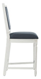Safavieh - Set of 2 - Buchanan Counter Stool Rectangle Navy Distressed White NC Coating Plywood Rubberwood Foam Nickel Linen FOX6271C-SET2 889048299177