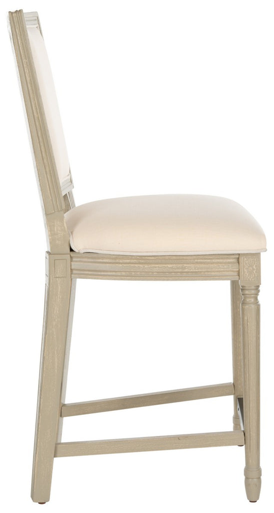 Safavieh - Set of 2 - Buchanan Counter Stool Rectangle Light Beige Rustic Grey NC Coating Plywood Rubberwood Foam Nickel Linen FOX6271D-SET2 889048299184
