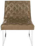 Safavieh Hadley Accent Chair Leather Tufted Antique Taupe Wood Electroplated Eucalyptus Foam Iron PU FOX6283C 889048220782