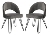Safavieh - Set of 2 - Jora Side Chair Velvet Retro Dark Grey Metal Matte Coating Foam Brass Polyester FOX6296B-SET2 889048041721