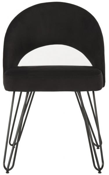 Safavieh - Set of 2 - Jora Side Chair Velvet Retro Black Metal Matte Coating Foam Brass Polyester FOX6296C-SET2 889048042995
