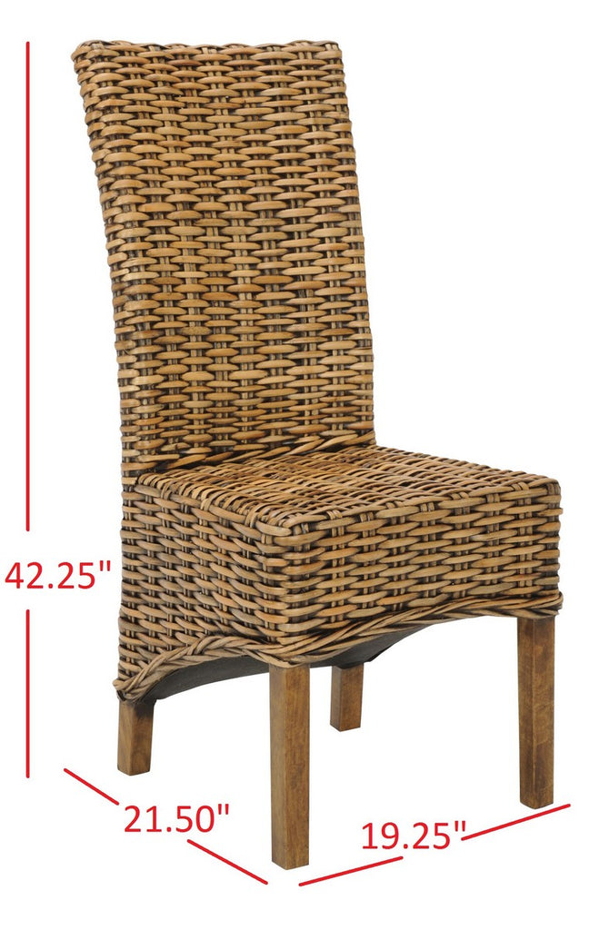 Safavieh - Set of 2 - Isla Side Chair 18''H Rattan Brown NC Coating Mango FOX6506A-SET2 683726410249