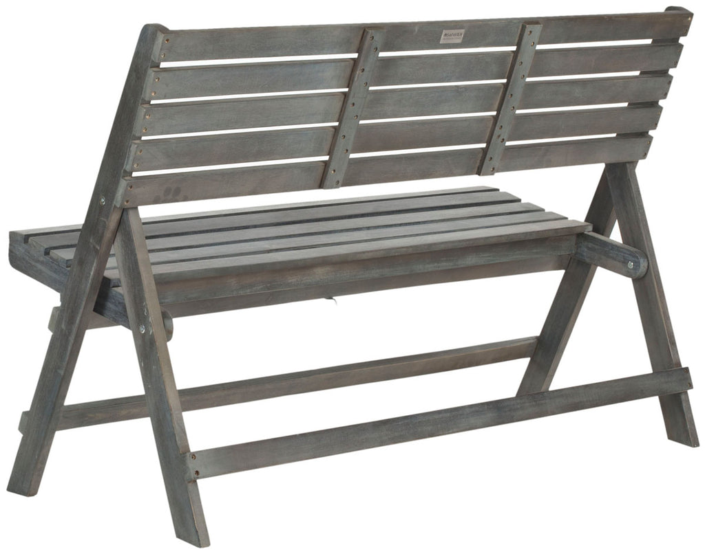 Safavieh Luca Bench Folding Ash Grey Silver Acacia Wood Galvanized Steel FOX6705A 683726468455