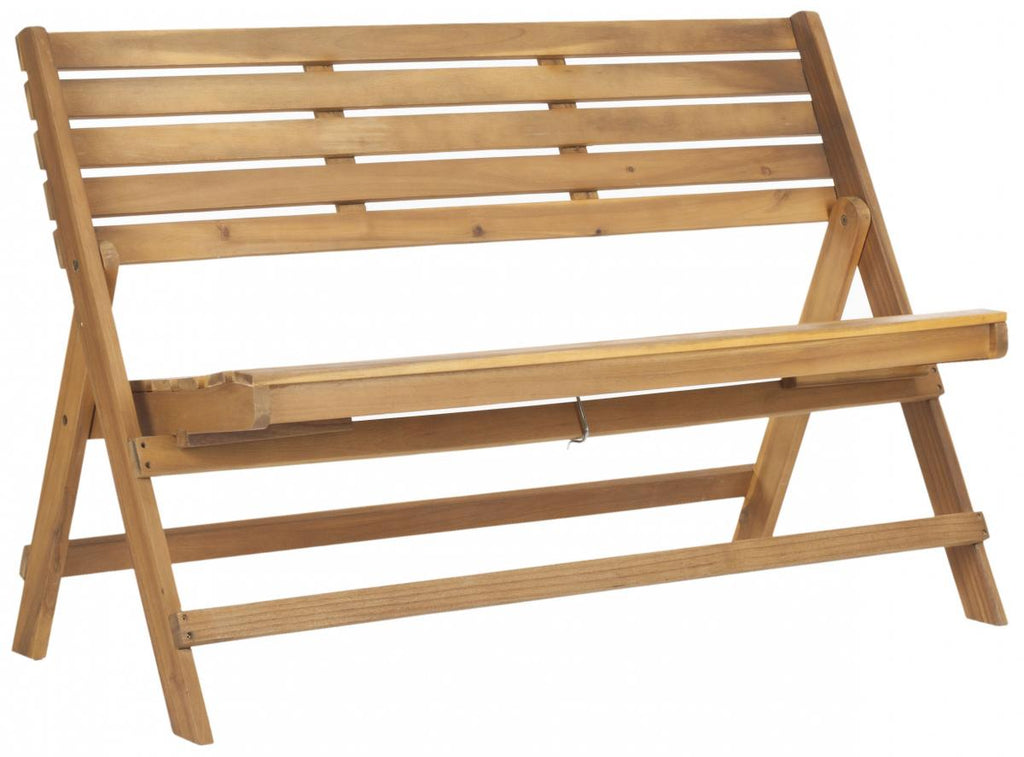 Safavieh Luca Bench Folding Natural Brown Brass Acacia Wood Galvanized Steel FOX6705B 683726468462