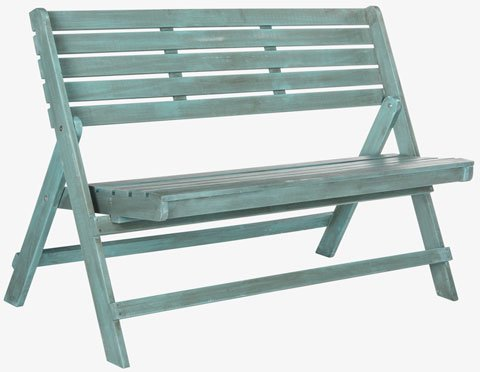 Safavieh Luca Bench Folding Beach House Blue Silver Acacia Wood Galvanized Steel FOX6705C 889048023475