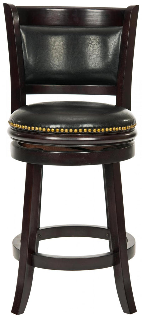 Safavieh Brockway Counter Stool Swivel Cappuccino Black Malaysian Oak Brass Iron Plate PU FOX7001A 683726979968