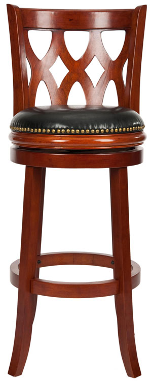 Safavieh Lancaster Bar Stool Swivel Cherry Black Malaysian Oak Brass Iron Plate PU FOX7002A 683726979975