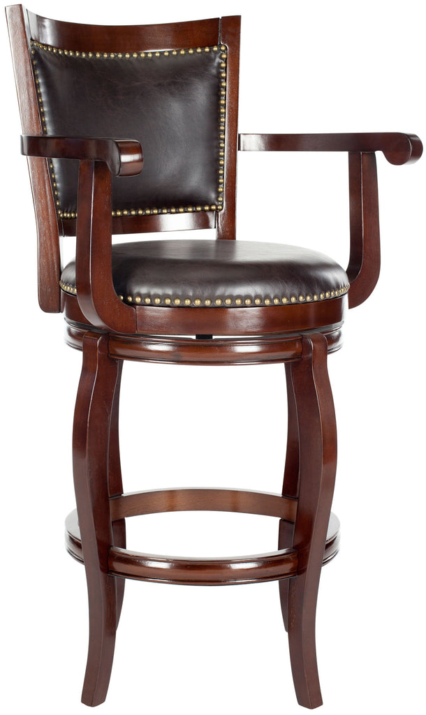 Safavieh Gitano Bar Stool Swivel Sierra Brown Rubberwood MDF Iron PU FOX7009A 683726675693