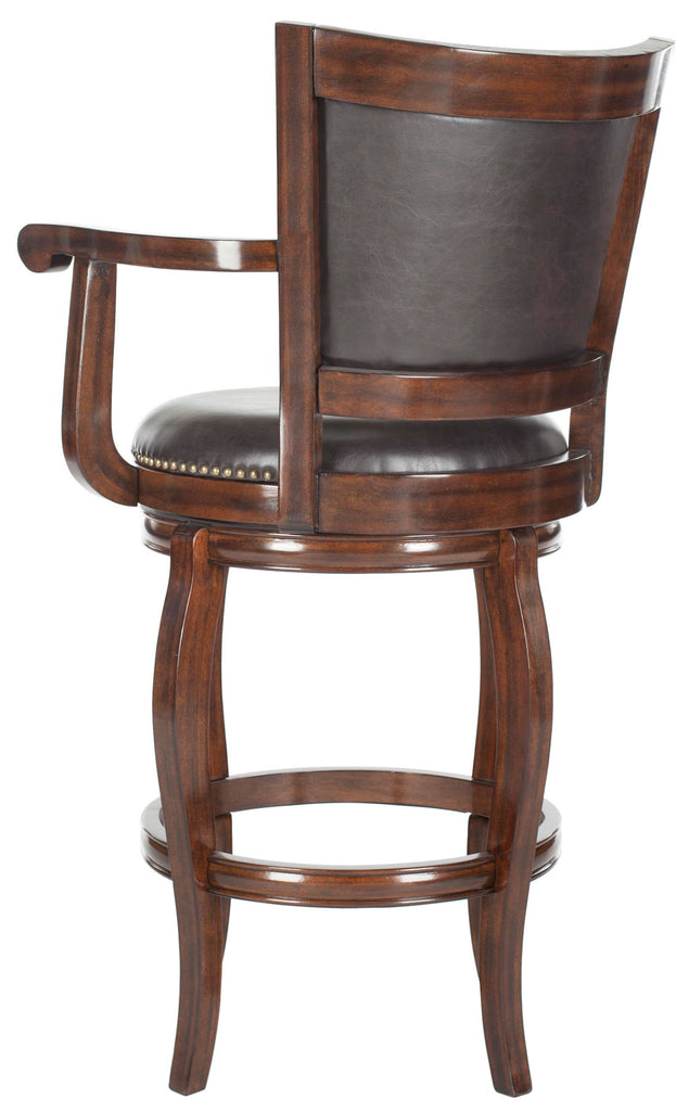 Safavieh Gitano Bar Stool Swivel Espresso Brown Rubberwood MDF Iron PU FOX7009B 683726703297