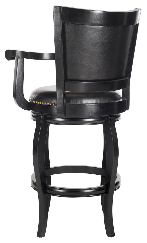 Safavieh Gitano Bar Stool Swivel Black Rubberwood MDF Iron PU FOX7009C 683726703303