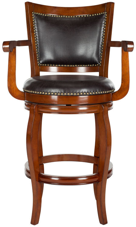 Safavieh Gitano Bar Stool Swivel Walnut Brown Rubberwood MDF Iron PU FOX7009D 683726703310