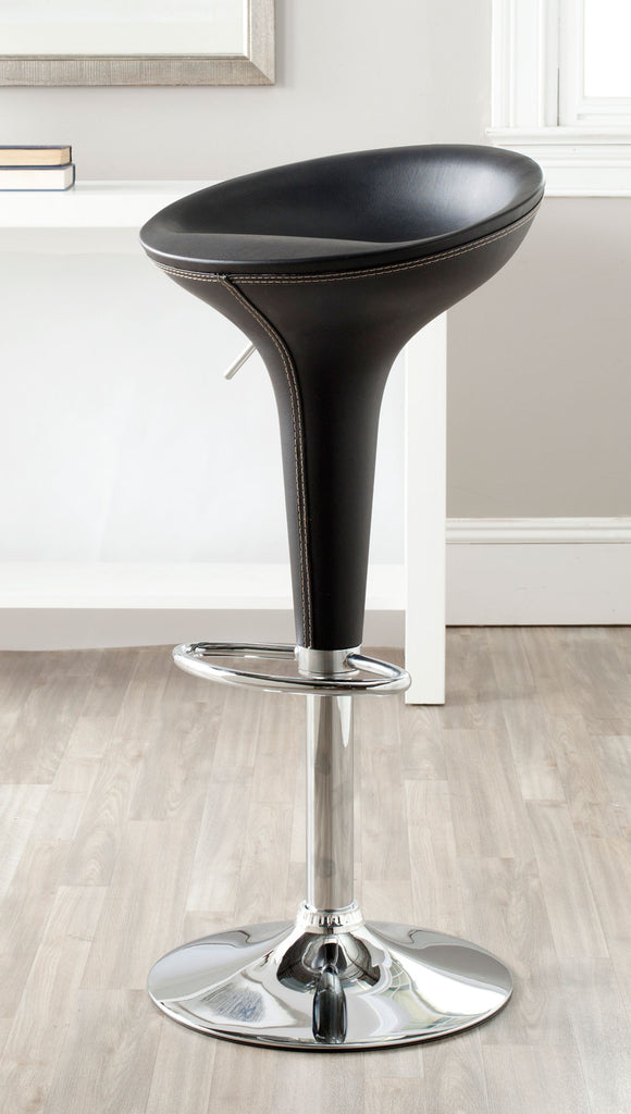 Safavieh Shedrack Bar Stool Swivel Black Metal Steel PVC FOX7509B 683726766926