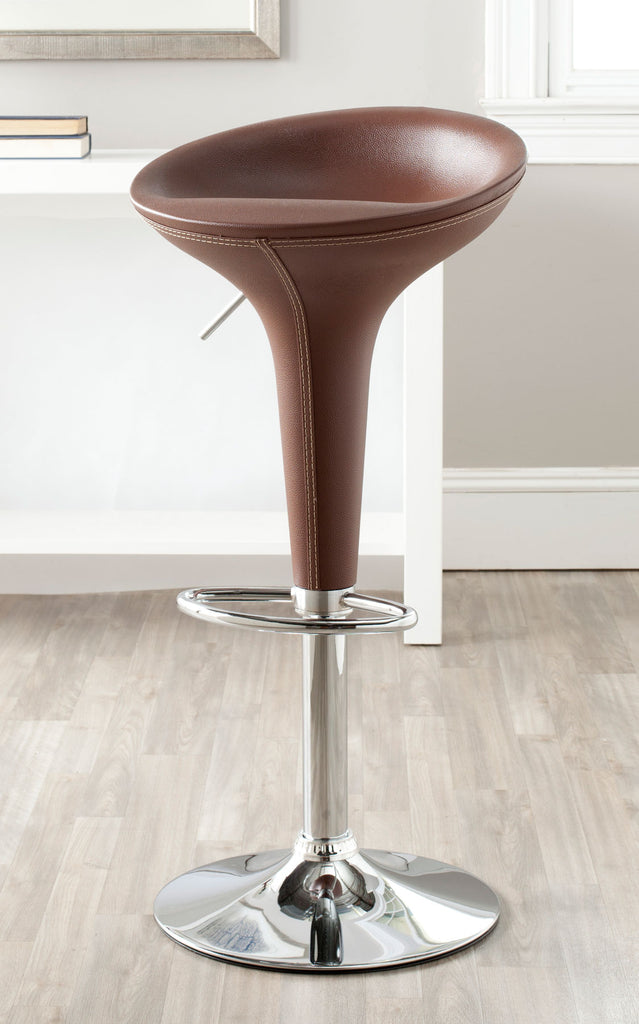Safavieh Shedrack Bar Stool Swivel Brown Metal Steel PVC FOX7509D 683726766940