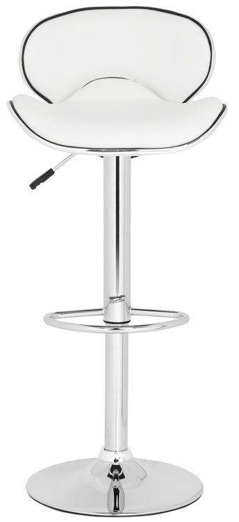 Safavieh Shambi Bar Stool Swivel White Metal Steel PU FOX7515A 683726767169