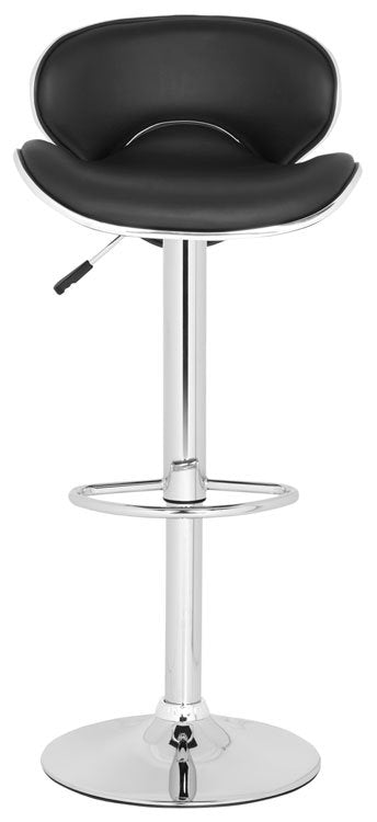 Safavieh Shambi Bar Stool Swivel Black Metal Steel PU FOX7515B 683726767176