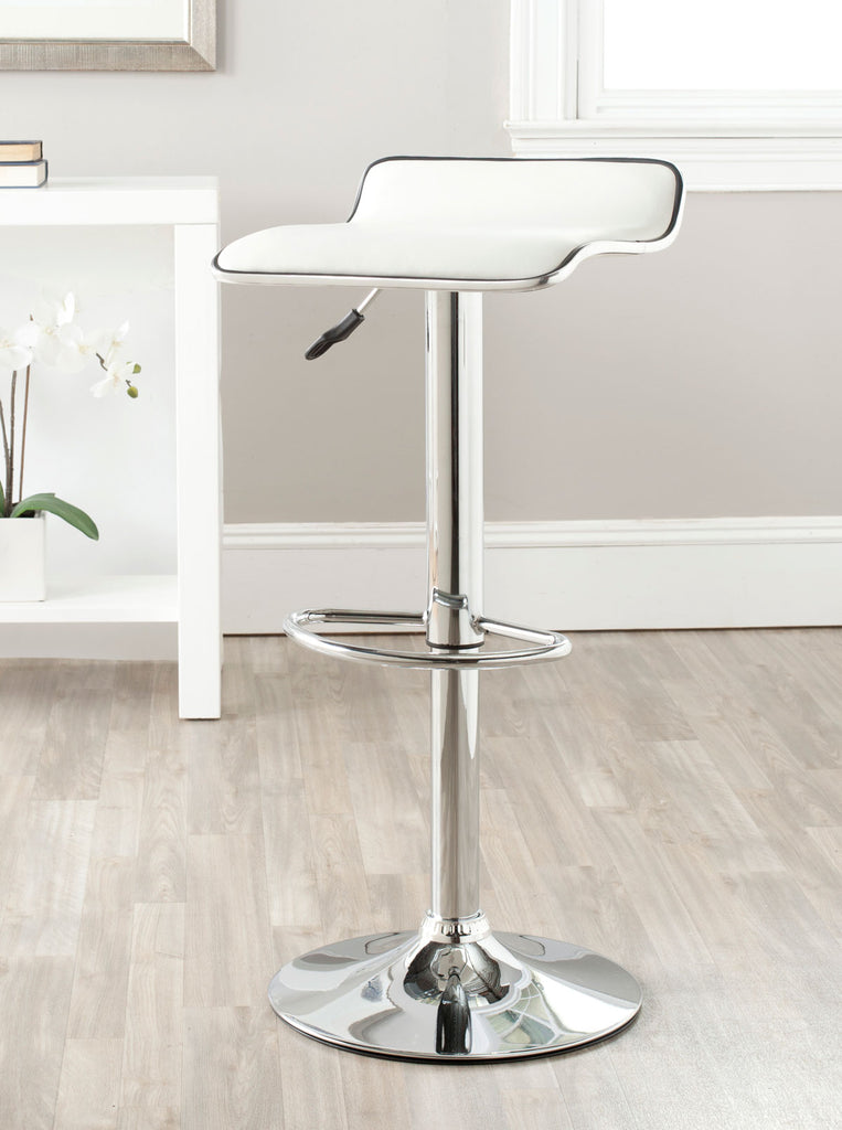 Safavieh Chaunda Bar Stool Swivel White Metal Steel PU FOX7517A 683726767206