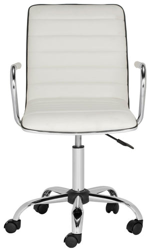 Safavieh Jonika Desk Chair Swivel White Metal Steel PU FOX7520A 683726767275