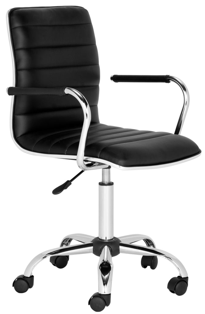 Safavieh Jonika Desk Chair Swivel Black Metal Steel PU FOX7520B 683726767282