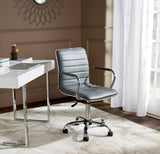 Safavieh Jonika Desk Chair Swivel Grey Metal Steel PU FOX7520C 683726315926