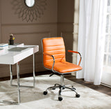 Safavieh Jonika Desk Chair Swivel Orange Metal Steel PU FOX7520D 683726315933