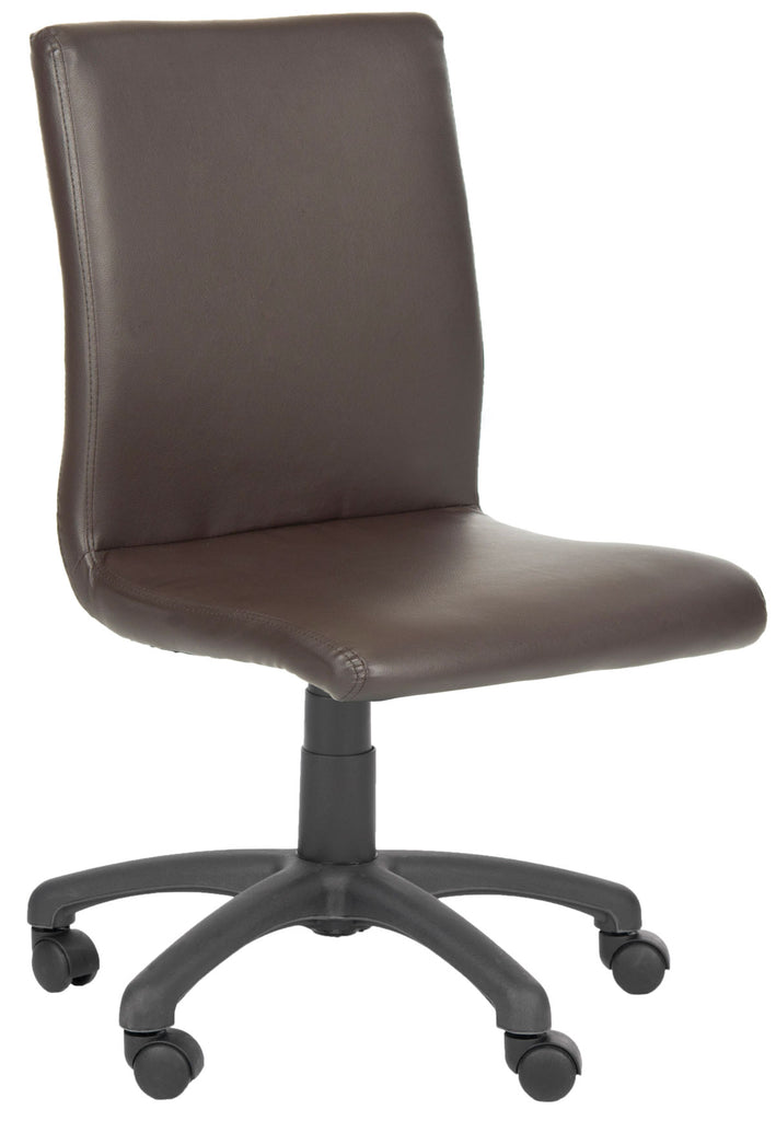 Safavieh Hal Desk Chair Brown Metal Foam Iron PVC FOX8501A 683726772729