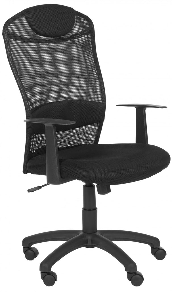 Safavieh Shane Desk Chair Black Metal Foam Iron PVC FOX8504A 683726772750