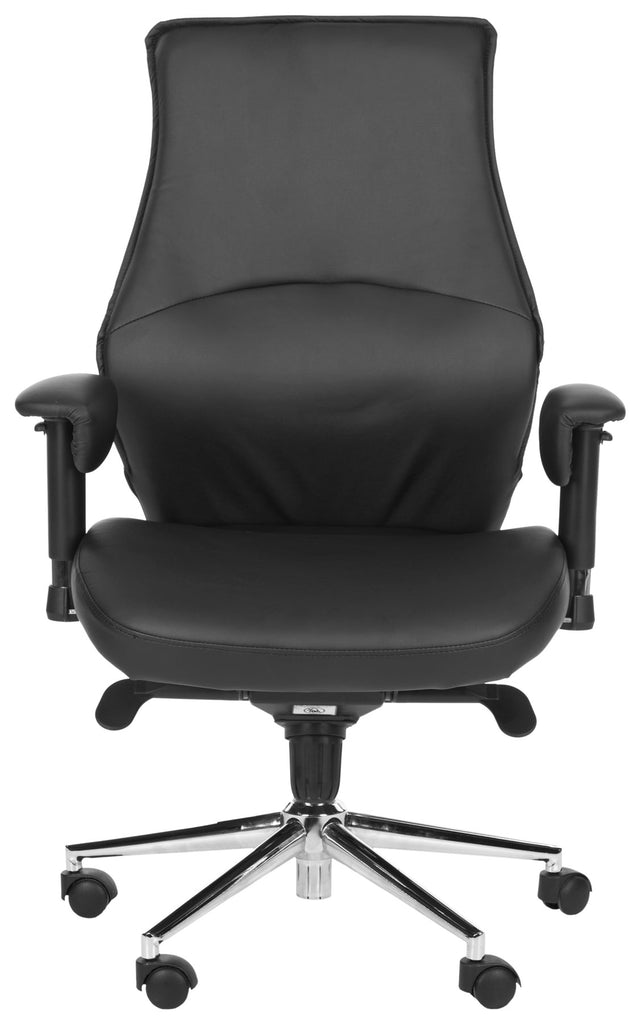 Safavieh Irving Desk Chair Black Silver Metal Foam Iron PU PVC FOX8505A 683726772767
