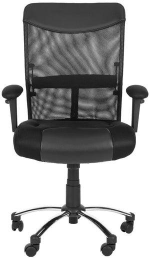 Safavieh Bernard Desk Chair Black Silver Metal Foam Iron PVC FOX8508A 683726772798