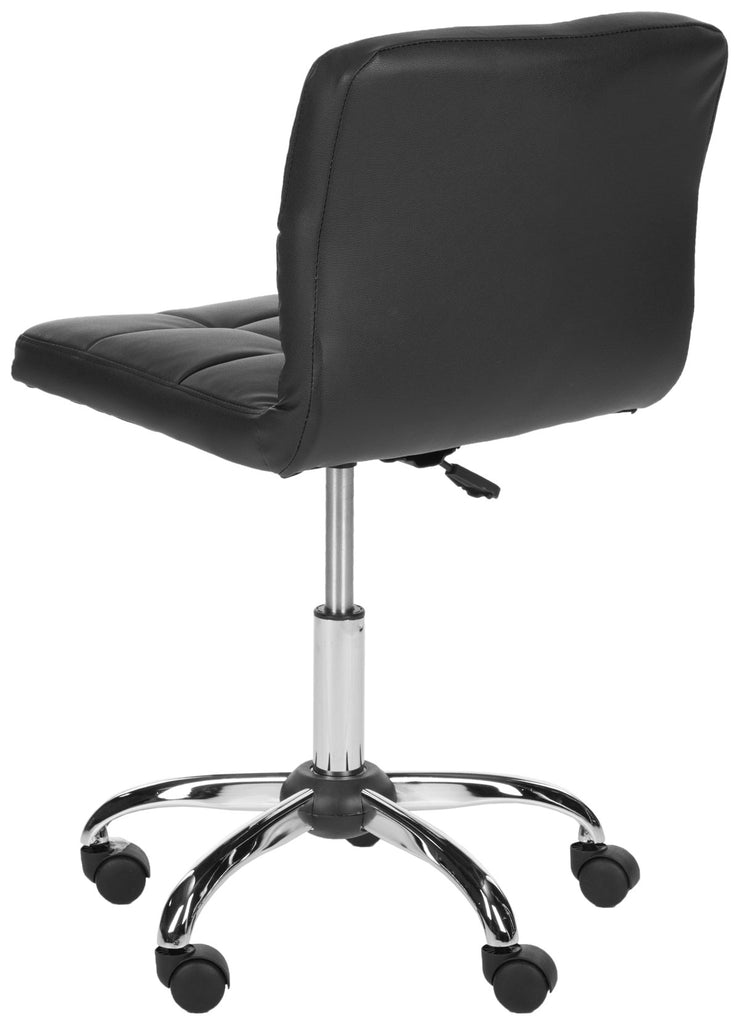 Safavieh Brunner Desk Chair Black Silver Metal Foam Iron PVC FOX8510A 683726772811