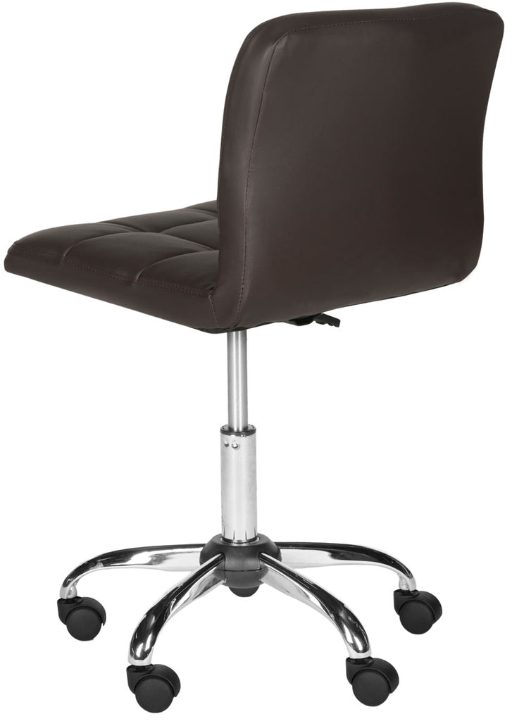 Safavieh Brunner Desk Chair Brown Silver Metal Foam Iron PVC FOX8510B 683726733119