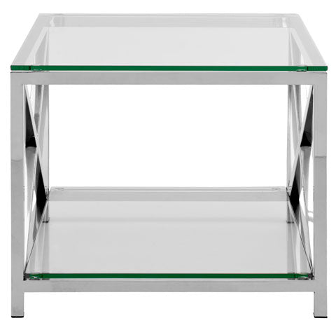 Safavieh Hayward End Table with Glass Top Chrome Stainless Steel Couture FOX9008A 683726375326