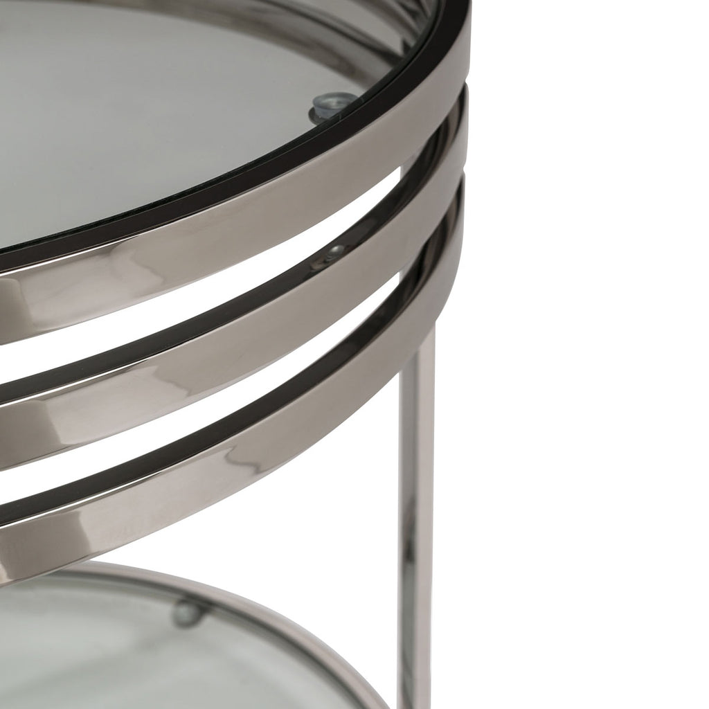 Safavieh Malory End Table with Glass Top Chrome Polished Stainless Steel Couture FOX9039A 683726462200