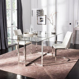 Safavieh Fidel Glass Top Dining Table in Chrome FOX9054A-2BX 889048455016