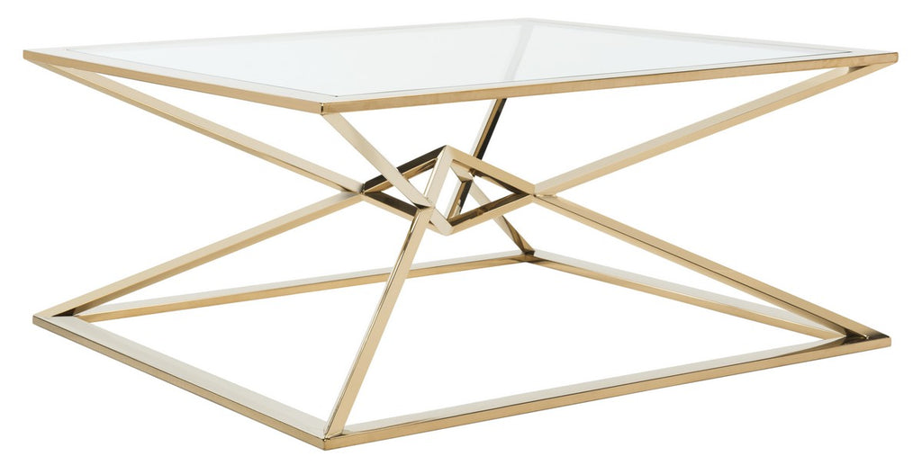 Safavieh Fiorella Coffee Table Glass Top Gold Polished Stainless Steel Brass Couture FOX9063A 889048259911