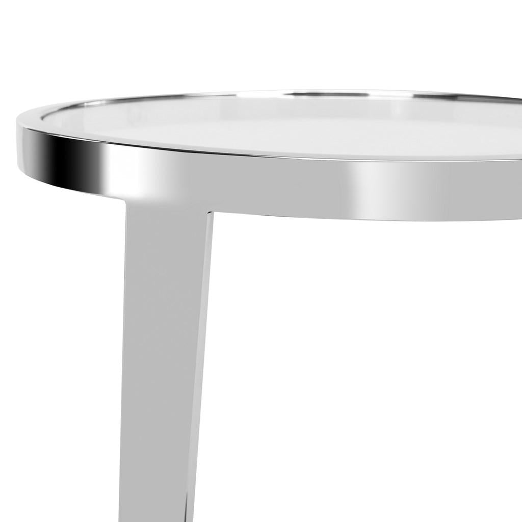 Safavieh Mariana End Table Glass Top Chrome Polished Stainless Steel Couture FOX9070A 889048282520