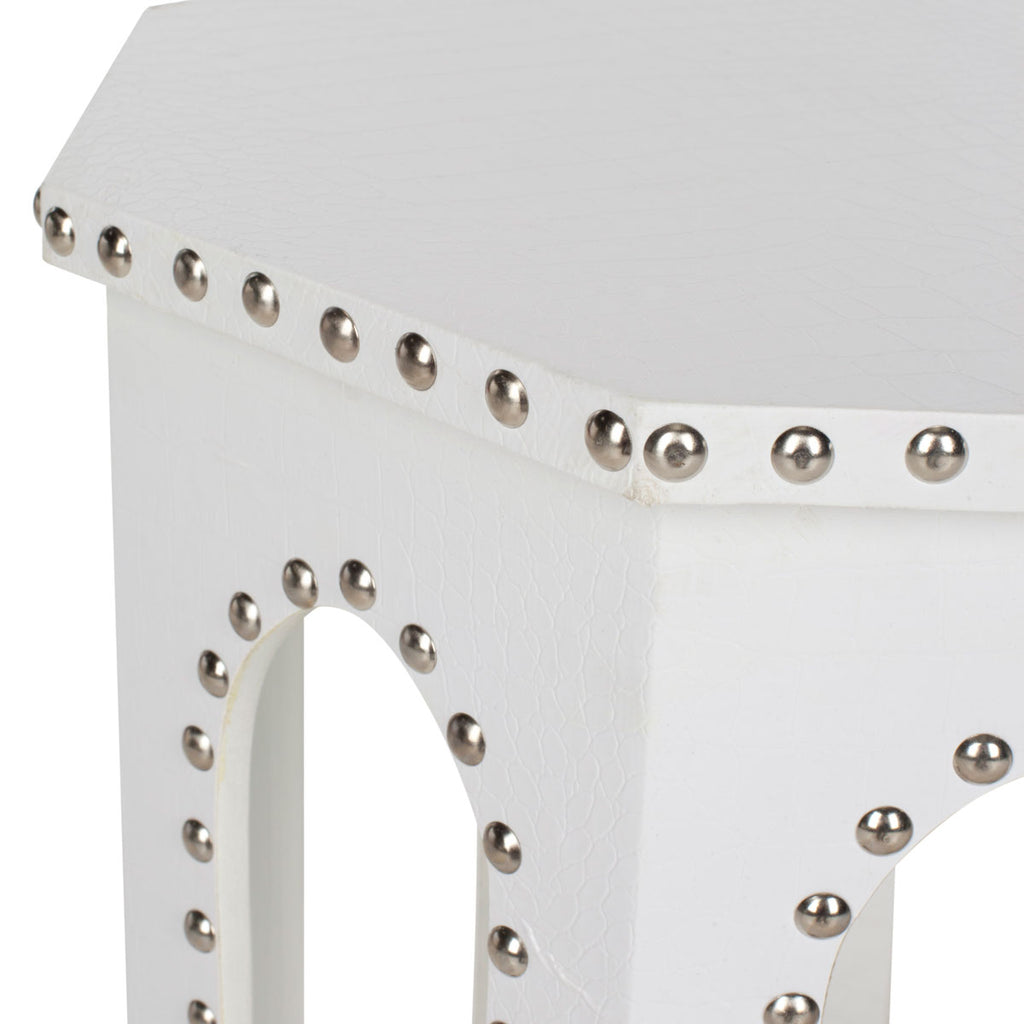 Safavieh Nara End Table White Crocodile Wood Lacquer Coating MDF Iron PU FOX9501C 683726356547