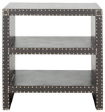 Safavieh Lacey Side Table Two Tier Grey Wood Lacquer Coating MDF Iron PU FOX9502A 683726356615