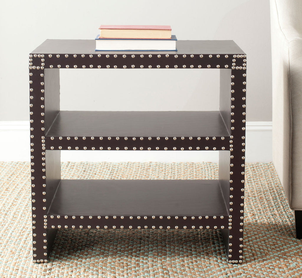Safavieh Lacey Side Table Two Tier Charcoal Wood Lacquer Coating MDF Iron PU FOX9502B 683726356639