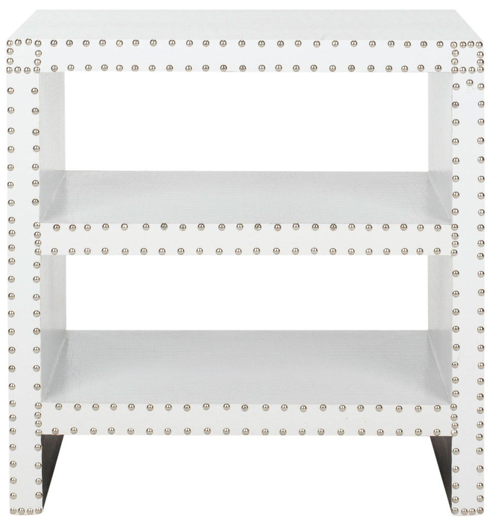 Safavieh Lacey Side Table Two Tier White Crocodile Wood Lacquer Coating MDF Iron PU FOX9502C 683726356653
