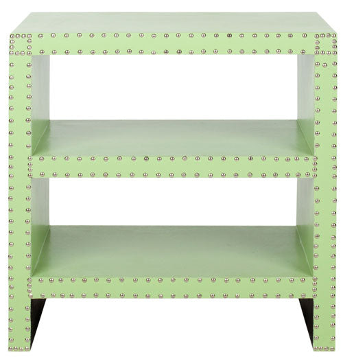 Safavieh Lacey Side Table Two Tier Light Green Wood Lacquer Coating MDF Iron PU FOX9502D 683726356660