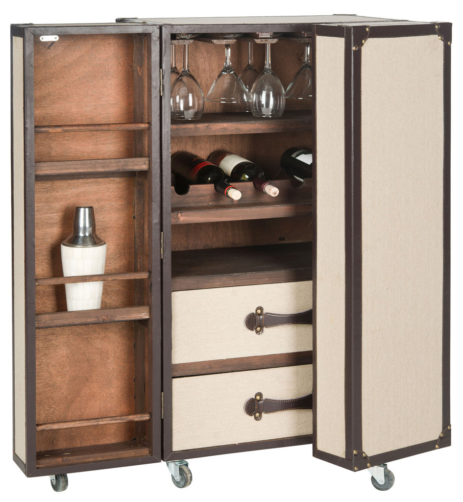 Safavieh Grayson Bar Cabinet Beige Wood Lacquer Coating MDF Iron Linen PU FOX9511A 683726181644