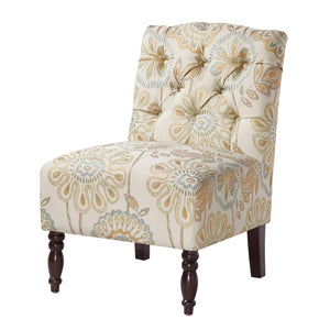 Lola Tufted Armless Chair in Cream Multi